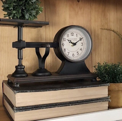 Rustic Vintage Style Hardware Scale Clock