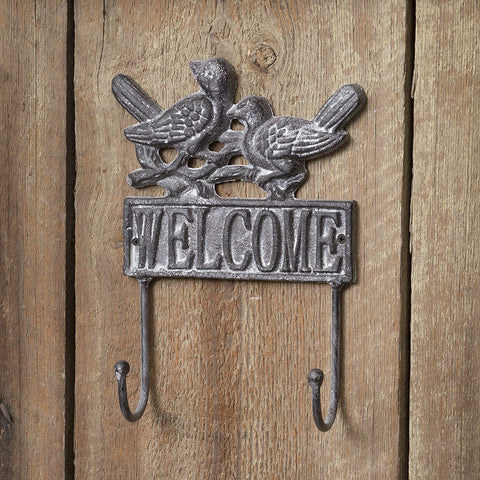 Welcome Wall Hook with Birds