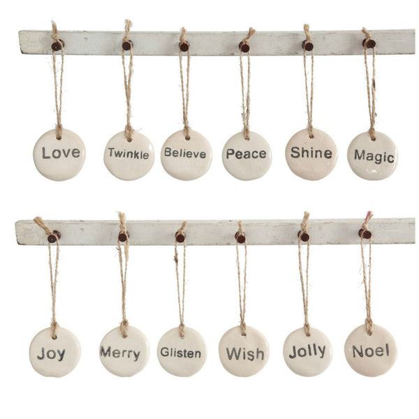 Stoneware Tag Ornament - Set of Twelve