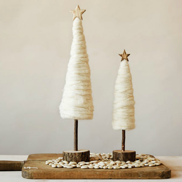 Cream Wool Trees with Wooden Star - Set of Two