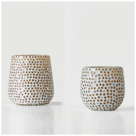 Glass Star Mosaic Tealight Holders - Set of Two