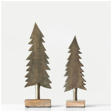 Metal Antique Brass Finished Christmas Trees - Set of Two