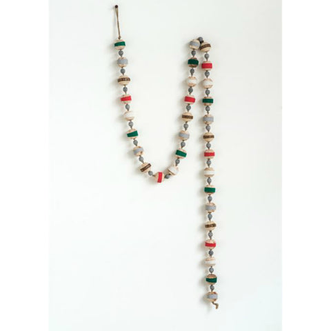 Colorful Striped Wood Bead Garland