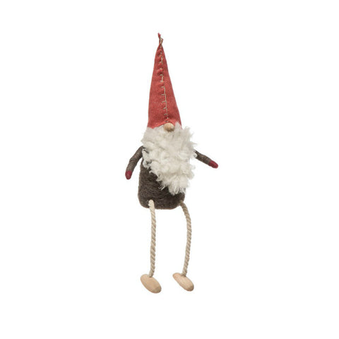 Holiday Wool Felt Gnome with Dangling Legs