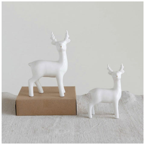 Standing Deer with Gold Electroplated Noses - Set of Two
