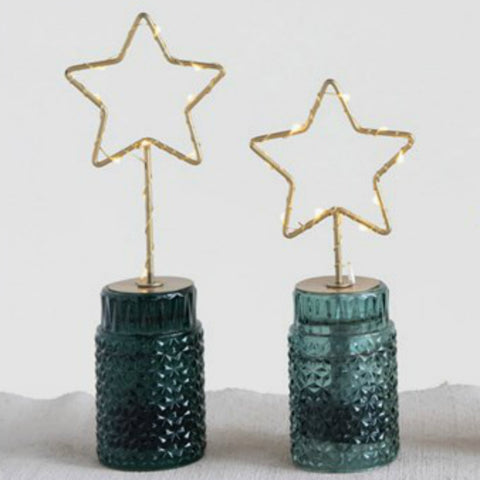 Lighted Metal Star with Green Glass Base - Set of Two