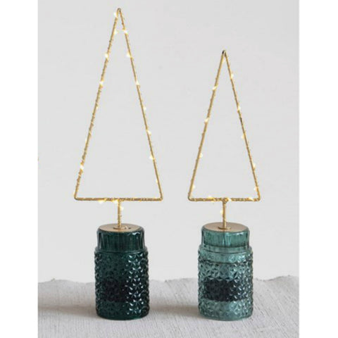Lighted Metal Tree with Green Glass Base - Set of Two
