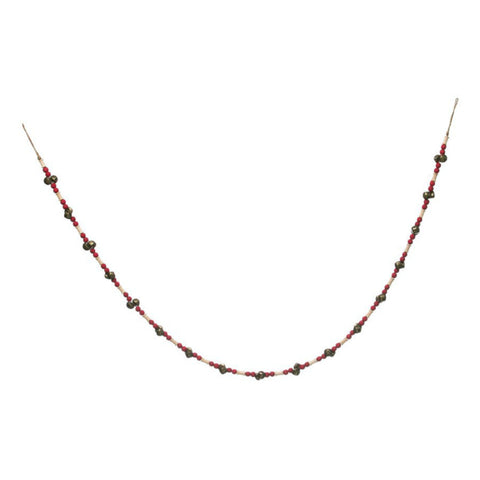 Red Wood Bead Garland with Jingle Bells
