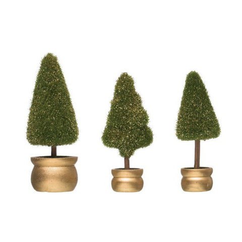 Faux Fir Trees in Gold Pots- Set of Three