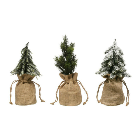 Faux Pine Trees in Burlap Bags- Set of Three