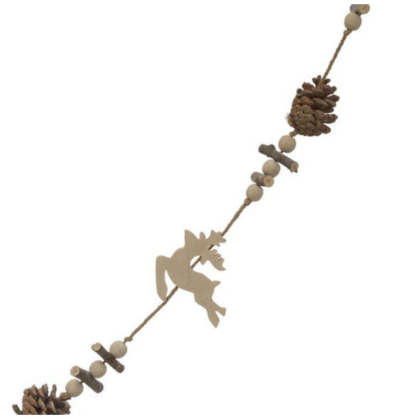 Wooden Deer and Pinecones Beaded Garland