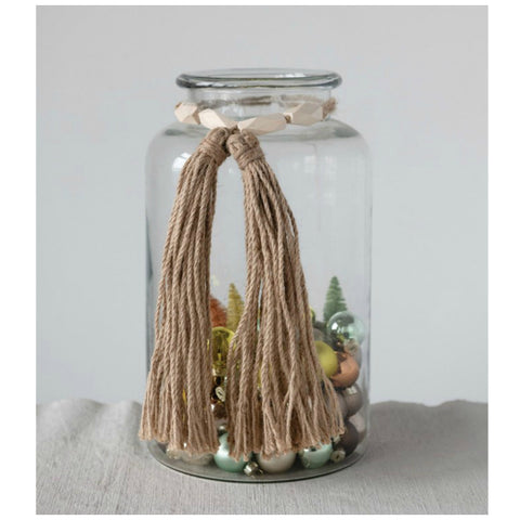 Wood Bead Swag Garland with Tassels - Set of Two