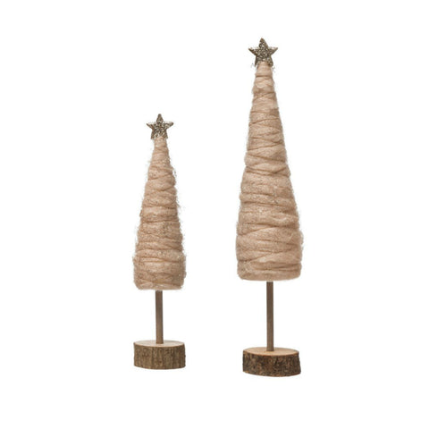Blush Wool Trees with Gold Star - Set of Two