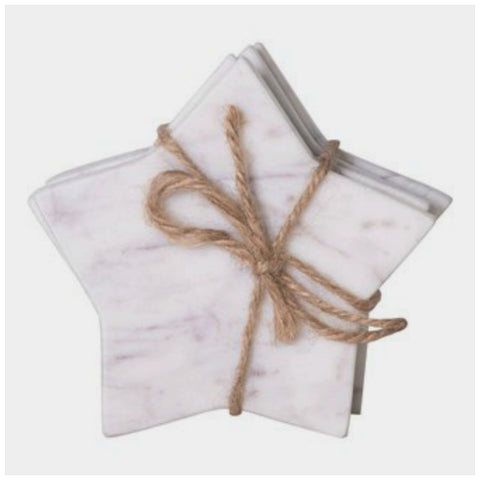 White Marble Star Shaped Coasters - Set of Four