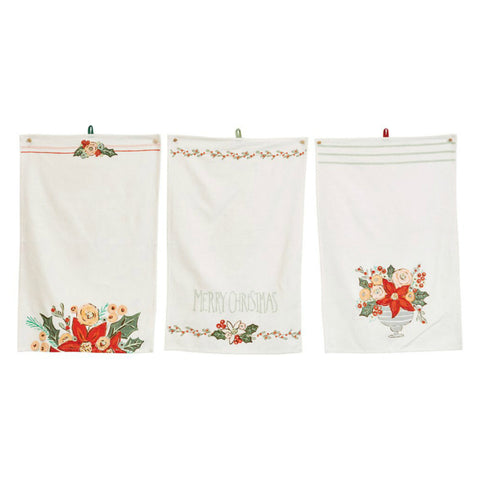 """Merry Christmas"" Floral Holiday Tea Towels - Set of Three"
