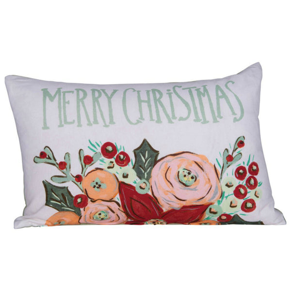 """Merry Christmas"" Floral Holiday Pillow"