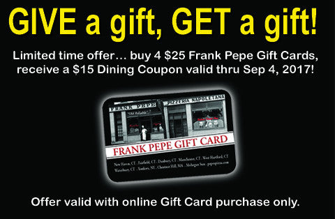 Frank Pepe's Pizza Gift Card Package 2 2017