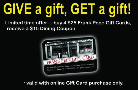 Frank Pepe's Pizza Gift Card Package October 2017-May 2018