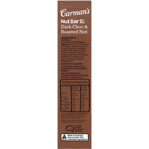 Carman's Nut Bars XL: Dark Chocolate & Roastd Nut (4 Bars)