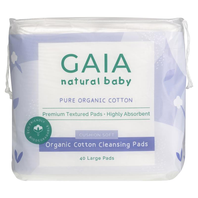 Gaia Natural Baby Organic Cotton Cleansing Pads 40 Pack