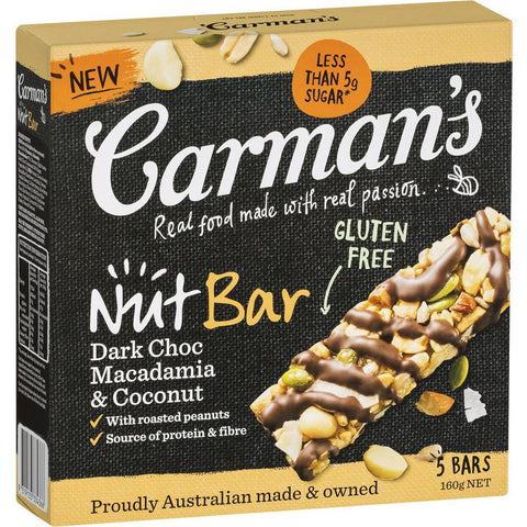 Carman's Nut Bars: Dark Choc Macadamia Coconut (5 Bars)