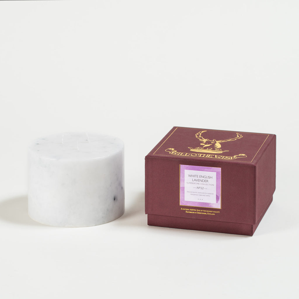 White English Lavender 3-wick Pillar Candle