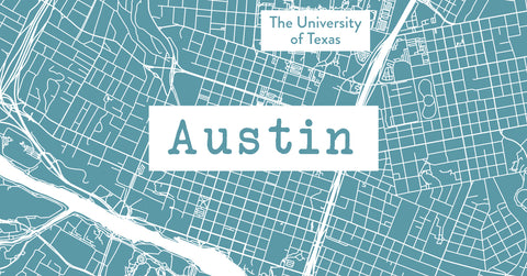 Austin map and city gifts for students and sports fans.