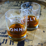 Bonnie & Clyde Whiskey Glasses