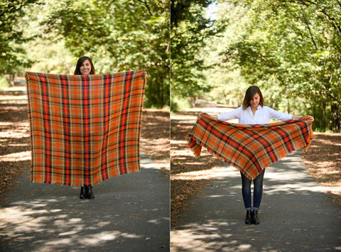 Plaid oversized scarf basic loop style.