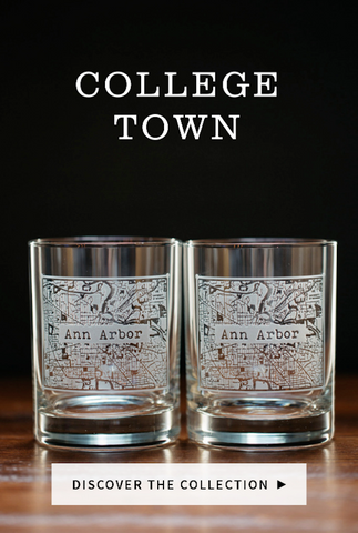 college town whiskey glasses, etched rocks glasses