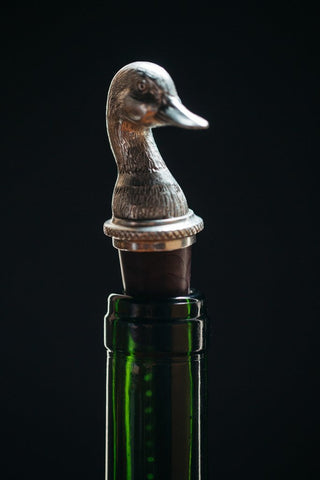 HANDCRAFTED DUCK HEAD PEWTER WINE STOPPER