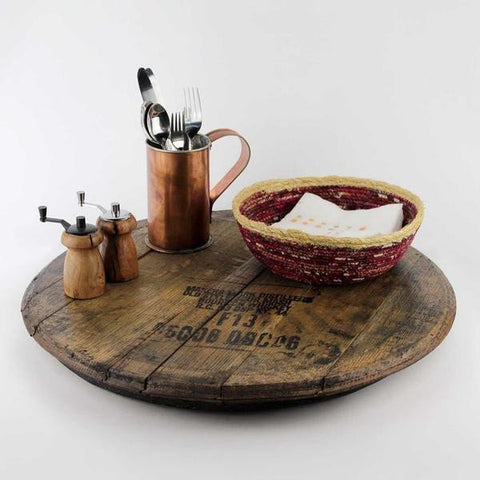 wood lazy susan, makers mark,
