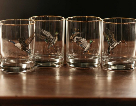 waterfowl double old fashion glasses