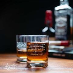 Our Legends whiskey glasses feature quotes from the great american whiskey drinkers including Ernest Hemingway and Mark Twain.