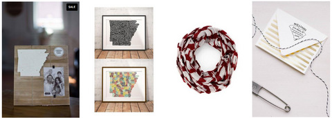 Arkansas shaped picture frames, scarfs, and other Arkansas state pride items at Bourbon and Boots.