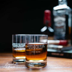 Our Legends whiskey glasses feature quotes from the great american whiskey drinkers including John Wayne and Mark Twain.