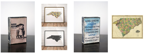 Shop southern home decor, art, and decorative state maps, watercolors, and metal art.