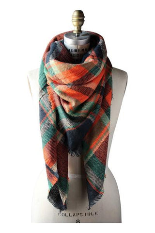 Trendy orange oversized plaid scarf.