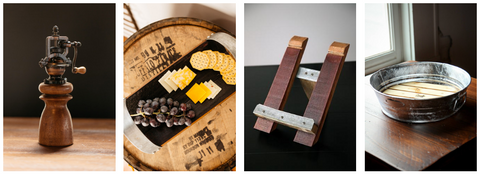 Southern kitchen items, reclaimed cookbook holders, old vine pepper grinders and more.