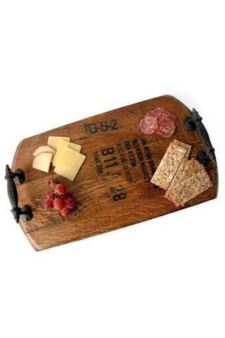 The perfect reclaimed barrel serving tray.