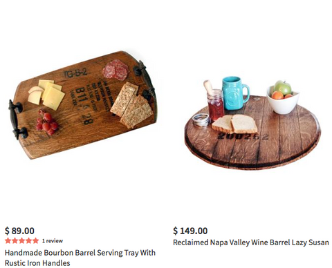 Reclaimed napa valley serving trays and bourbon top lazy susans.