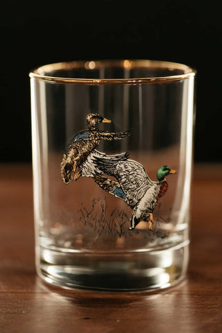 waterfowl double old fashioned glasses