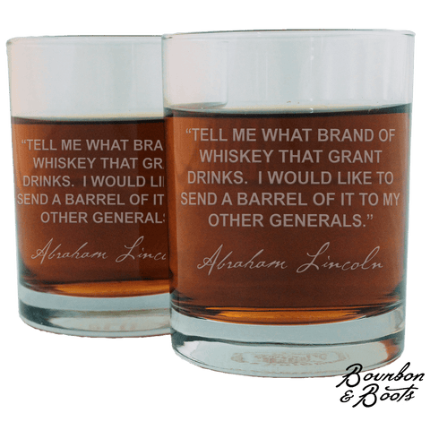Abraham Lincoln Whiskey Cocktail Glasses (Set of 2)