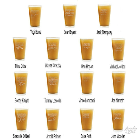 Sports Quotes Personalized Beer Glasses Full Set