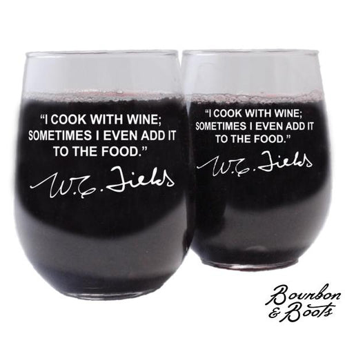 Famous Wine Sayings Personalized Etched Wine Glasses image