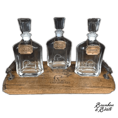 Personalized Whiskey Decanter Set With Wooden Serving Tray