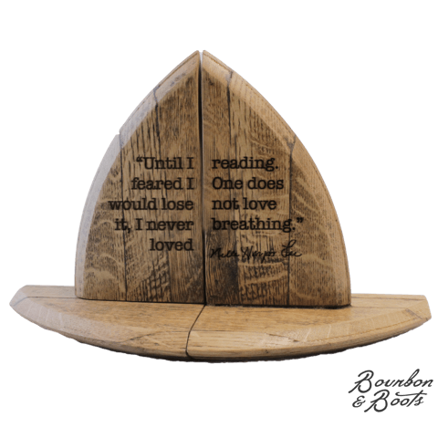 Famous Author Quote Bourbon Barrel Wood Bookend Set image