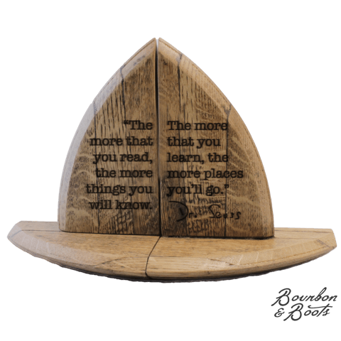 Famous Author Quote Bourbon Barrel Wood Bookend Set