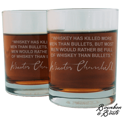 Winston Churchill Whiskey Cocktail Glasses (Set of 2)