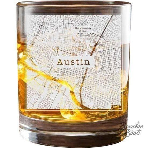 Texas Etched City Map Double Old Fashioned Glass Set image